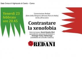 Contrastare la xenofobia - Venerdì 23 Febbraio - Sala Civica di Vighizzolo di Cantù CO