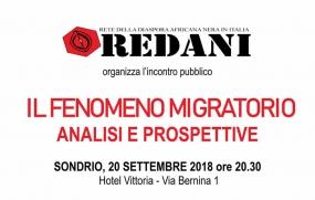 Redani organizza l'incontro pubblico - Il Fenomeno Migratorio - Analisi e prospettive